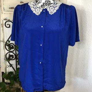 Vintage royal blue crochet collar blouse